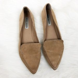 bdf6acc6cf7 Steve Madden Shoes - Steve Madden Camel Suede Feather Loafers